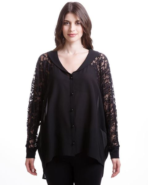 Picture of Blouse with lace-textured sleeves in black