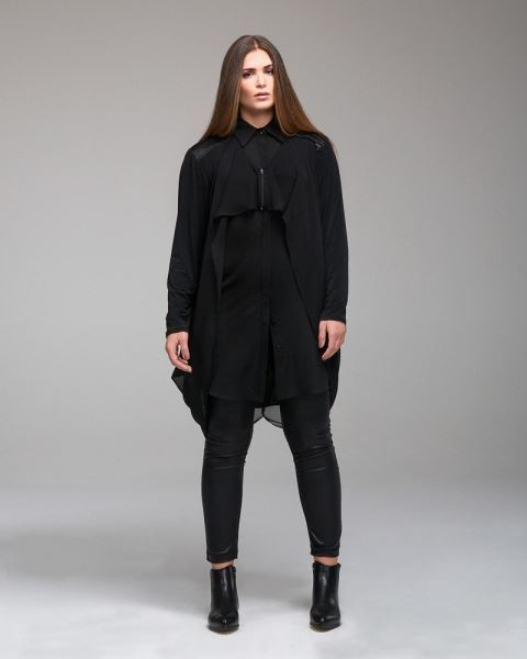 Picture of Long layered blouse with mixed fabrics