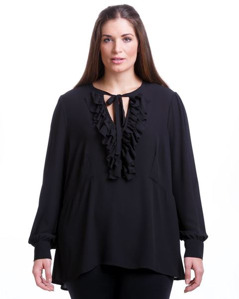 Picture of Ruffle collar blouse in cream, petrol, black