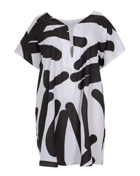 Picture of White crêpe graphic print top