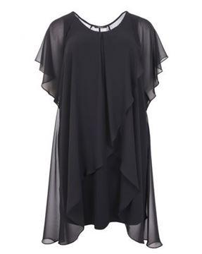 Picture of Layered dark blue chiffon dress