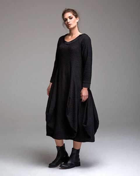 Picture of Hooded bubble dress with structures in black and blue