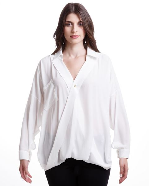 Picture of Chiffon blouse in off-white, black and cigar