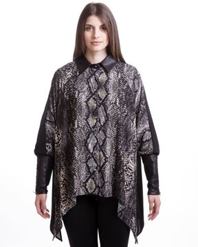 Picture of Snake-printed shirt with leather-like cuffs