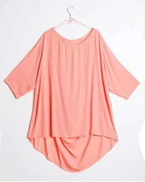 Picture of Long Top in apricot, black, dark blue