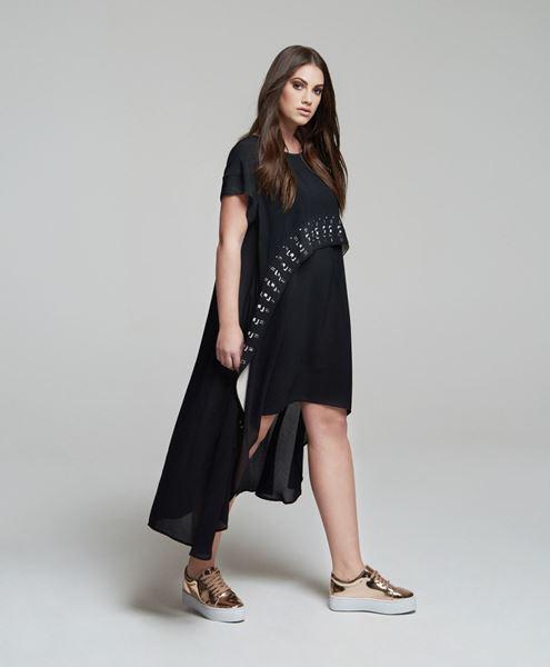Picture of Laser cut assent crêpe dress