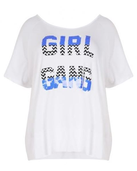 Picture of Sequin detail slogan t-shirt