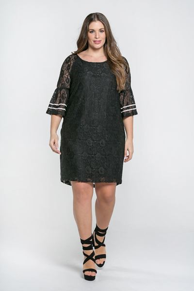 Picture of lace dress with ruffle sleeves