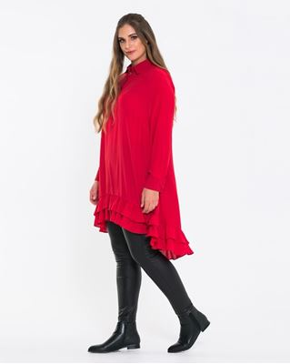 Picture of Red ruffled hem tunic