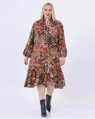 Picture of tassel tie print dress